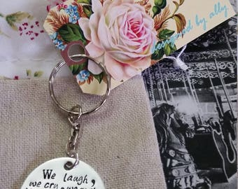 We laugh we cry mother's day keychain gift custom personalized mom handstamped silver jewelry christmas birthday gold bronze