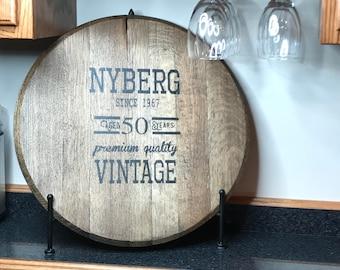 Bourbon Barrel Head/Monogram/personalization-wedding gift/Kentucky bourbon/Christmas Gift