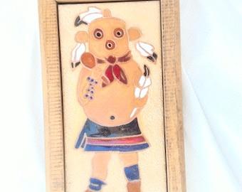 Hopi Sand Painting Tile ~ Mud Head Kachina ~ Native American ~ Kachina Art ~ Dance / Clown ~ Wood Framed MudHead Art