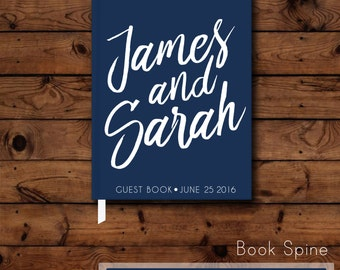 Wedding Guest Book - Modern Guest Book - Simple Wedding - hardcover guest book - Trendy - Navy Blue - Reception Book - Bridal Shower Gift