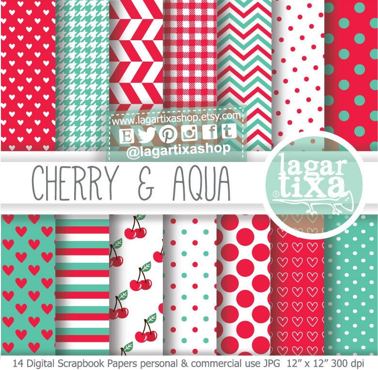 Red Aqua Turquoise Digital Paper Background Cherry Red Teal