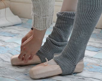 KNEE HIGH BALLERINA  Yoga/Dancer's legwarmers - hand kranked and finished 60cm one size fits all-school girl grey knee high lambswool   wool