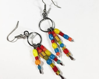 Bohemian Bead Earrings #2, Boho Hippie Earrings, Free Domestic Shipping