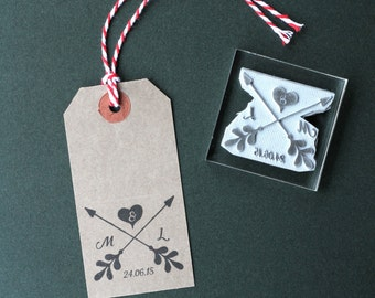 Wedding Rubber stamp. Personalised arrows. Custom. Favors