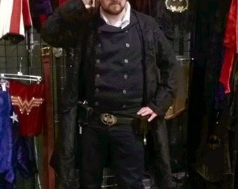 Men's Black on Black Captain's Coat, Steampunk Batman, Cosplay, Superhero, Victorian, Ren Fair, Renaissance Festival, Pirate, Classy