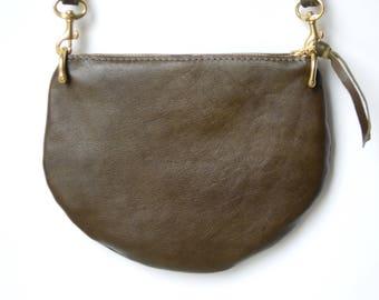 The Mini: Deep olive leather crossbody bag