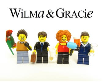 Wilma & Gracie + Jackie and Kare Custom Figure Set - 8 Accessories *SALE* Fan Art Crafted From LEGO® Elements