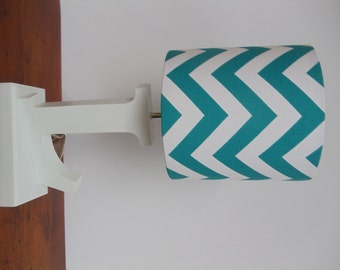 Small bluegreywhite chevron drum lamp shade nursery or small aquaturquoise and white chevron drum lamp shade nursery girls or boys aloadofball Choice Image