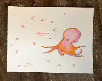 Watercolor Octopus for child's room
