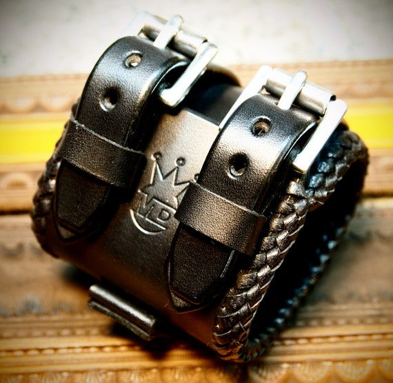 Leather cuff Bracelet Johnny Depp vintage style Wristband Best quality Made for YOU in USA by Freddie Matara