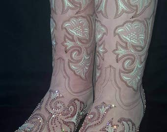Swarovski Crystal Embellished Pink and Cream Corral Snip Toe Cowgirl Boots