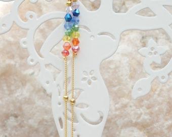 Dangly Earrings, Drop earrings, Rainbow Crystal Earrings, Chakra earrings, Hook Earrings, Long Chain earrings, Christmas Gift