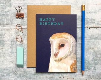 Owl Birthday Card - Owl Card - Barn Owl Card - Birthday Card - Bird Card - Animal Card - Woodland Animal - Owl Greeting Card - Barn Owl