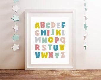 Alphabet Art, Nursery Letter Print, Playroom Wall Decor, A to Z Print, Nursery Art Print, Nursery Wall Decor, 5x7 8x10 11x14 A3 A4 A5, B091