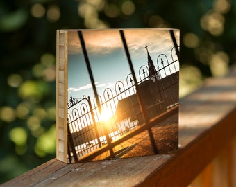 church steeple//cross//photography//cemetary//fences//gates//sunset//golden hour//wall art
