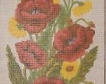Poppies and Marigolds Flower Panel Tapestry Needlepoint Canvas