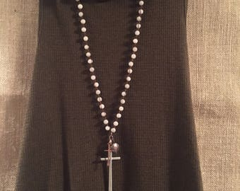 Beaded cross necklace large silver cross, small copper colored cross and rustic pendant on beaded chain.