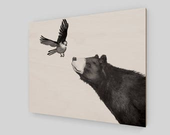 Bird and Bear - print on wood panel - Art Print - Ready to Hang - wood print
