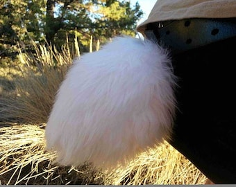 """Bunny Costume Tails 7"""" by AnthroWear - Furry Clip-On Cosplay Accessories - Hand Made in USA"""