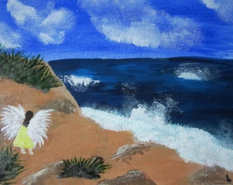 Original Angel Art, 8X10 Ocean Beach Angel