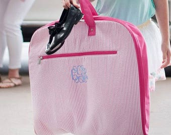 Monogrammed Garment Bag Seersucker Personalized Gift