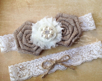 Rustic wedding garter, burlap garter, bridal garter set, jute and lace garter, shabby chic garter, country wedding garter, garters, weddings