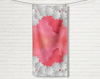 Red bath towel, Floral beach towel, Red beach towel, Red and white towel, Feminine towel, Gift for Her, Bath accessories, TWdp033-6