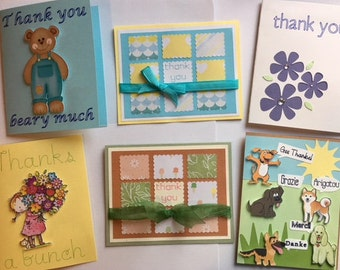 Set of 6 Homemade Thank You Cards