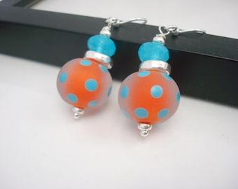 Orange Earrings, Lampwork Earrings, Polka Dot Earrings, Aqua Blue and Orange, Dot Earrings, Orange Drop Earrings, Orange and Blue Earrings