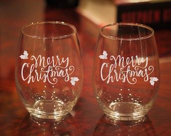 Christmas Wine Glasses, Merry Christmas Wine Glass, Holiday Wine Glasses, Christmas Party Glasses, Holiday Party Glasses, Holidays, Set of 2