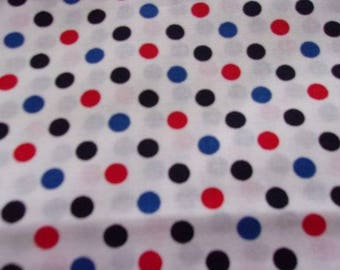 Red Blue White Patriotic Dots Cotton Fabric 1/2 Yard Cut New