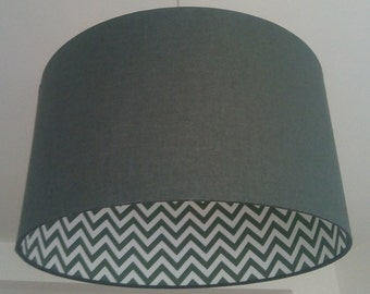 Cylindrical Lampshade 2 faces made of fabric and patterned green and white chevron for pendant or lamp base