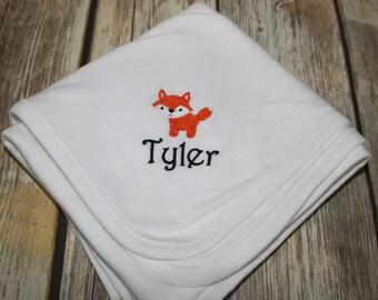 Personalized Fox Baby Blanket, Monogrammed Fox Baby Blanket, Fox Baby Blanket, Fox Receiving Blanket