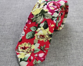 Red Floral Skinny Tie | floral tie | flower tie | skinny tie | wedding tie | rose tie | wedding ideas | groom | floral skinny tie