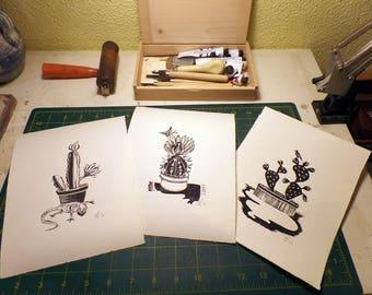 "Set of 3 Original Handmade Linocut Prints, 6.5"" x 9"", Small size art, minimal, black ink, cactus, lizard, butterfly, bird, wall decor, gift"