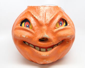 Large 7 Inch Vintage 1940's Halloween Smiling Jack-O-Lantern, made with Pulp Paper Mache, Antique, Retro JOL