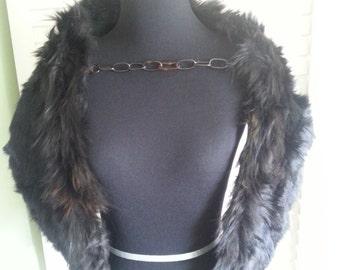 Vintage black fur, vintage fur, vintage shawl, Black Fur,