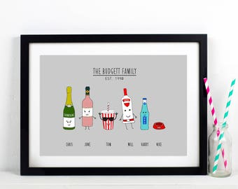 Personalised Family Print, Family Portrait, Family, Mother's Day Gift, Family Illustration, Father's Day Gift, Family Gift, Gift for Family