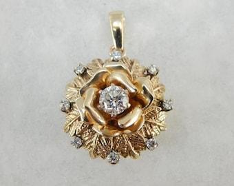 Stunning Gold Rose And Diamond Pendant  HZFF01-D