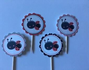 Ladybug themed cupcake toppers