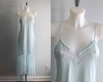 Vintage 1980s Nightgown, Mint Green Nightgown, Vintage Nightgown, Nightgown, Romantic Nightgown, Vintage Lingerie