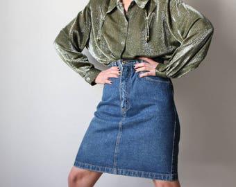 Acid / long shirt / Lurex / Green-Khaki-silver / 90's blouse / Oversize