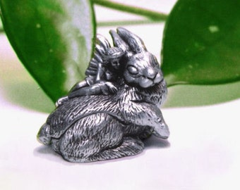 Tooth Fairy Box -Pewter Bunny