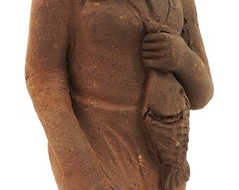 Clay Figure Woman Carrying Fish Malawi African 80927