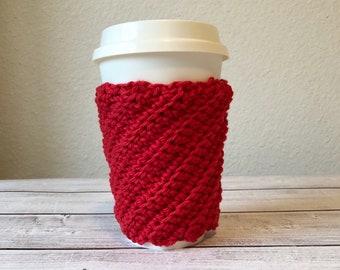 crochet coffee sleeve/ coffee cup cozy/ spiral cozy/mug cover/ travel mug cozy