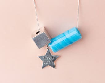 Blue tube and Silver cube necklace