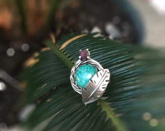 Turquoise Ring,  Sterling Silver Ring, Statement Ring, Size 7.5, Handmade Artisan Ring, Gypsy Ring, Multistone Ring