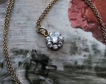 Amazing Victorian Old Cut Diamond Cluster Necklace (Pendant Only)