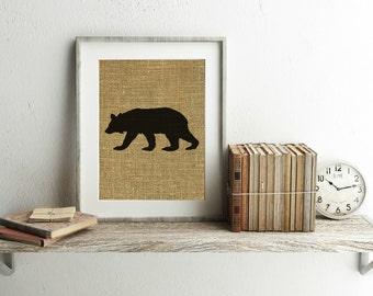 Black Bear Print - Black Bear Decor - Bear Print - Bear Decor - Cabin Decor - Woodland Nursery Decor - Burlap Print