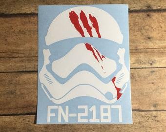 Storm trooper  fn2187 / decal / geekery / geek / nerd / space / galaxy